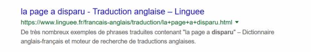 page disparue des résultats google