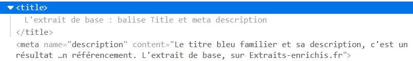 exemple de code HTML : balises title et meta description