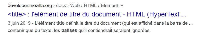Exemple de 'extraits de résultats de recherche, illustrant la balise Title - résultat de developer.mozilla.org